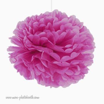 Rosace Pompon Fleur Papier de Soie Violet Prune