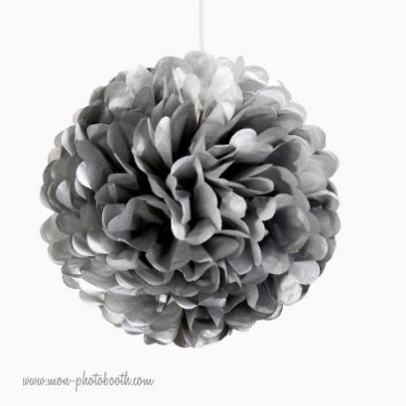 Rosace Pompon Fleur Papier de Soie Argent