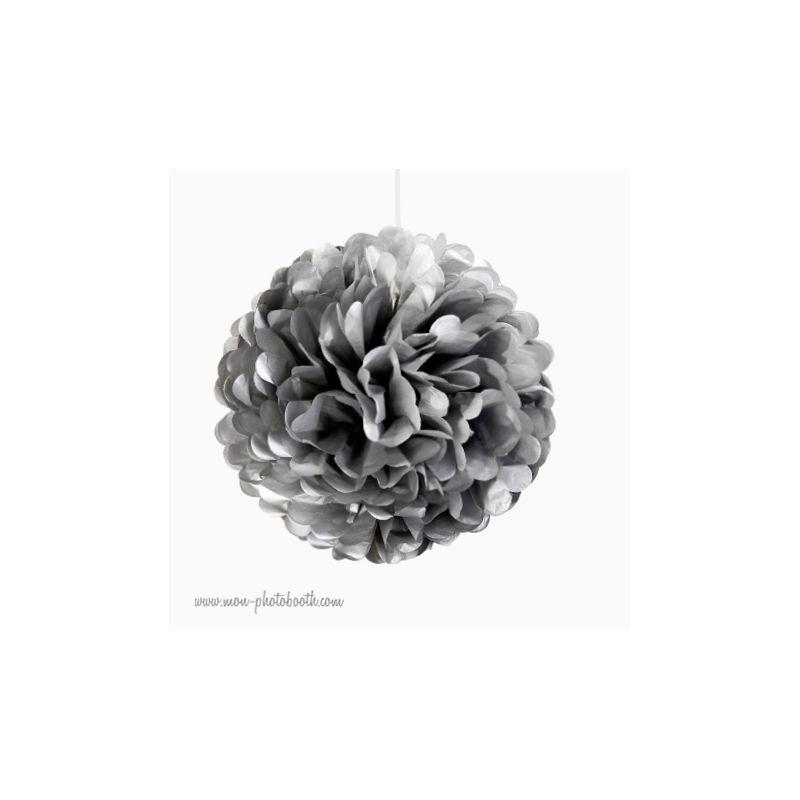 Rosace pompon fleur papier de soie argent - Papier de soie pas cher ...