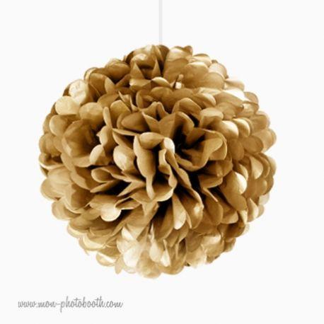 Rosace Pompon Fleur Papier de Soie Or