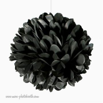 Rosace Pompon Fleur Papier de Soie Noir