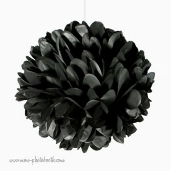 rosace pompon fleur papier de soie noir. Black Bedroom Furniture Sets. Home Design Ideas