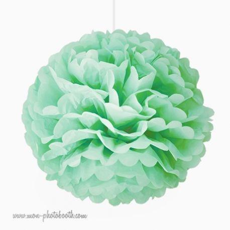 Rosace Pompon Fleur Papier de Soie Vert Amande