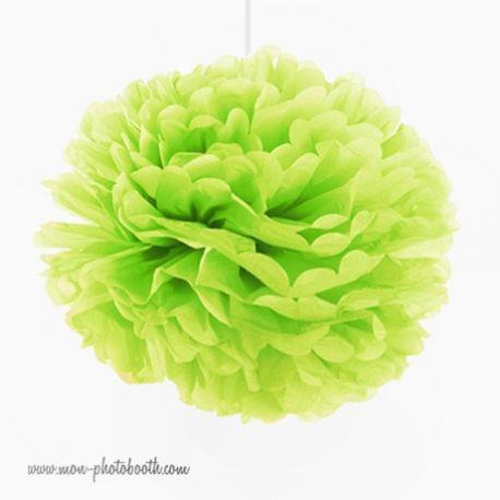 Rosace Pompon Fleur Papier de Soie Vert Anis