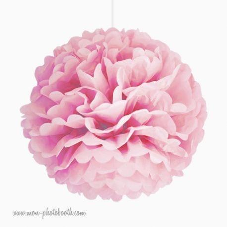 Rosace Pompon Fleur Papier de Soie Rose Pale Poudré