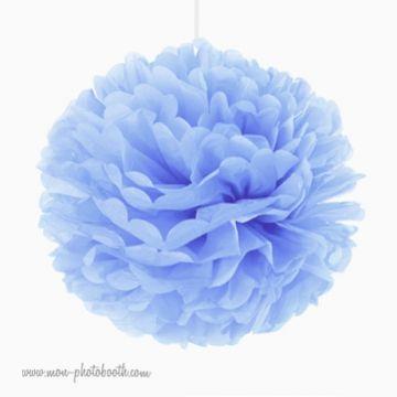 Rosace Pompon Fleur Papier de Soie Baby Blue