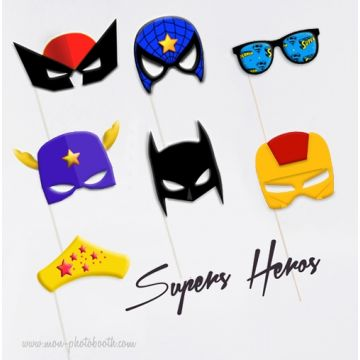 Lot de 7 Super Héros - Taille Enfant - Photobooth