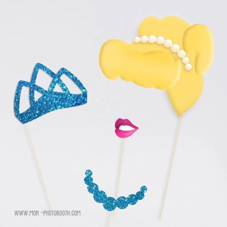 Kit Princesse Paillettes Turquoise Photobooth Accessoires