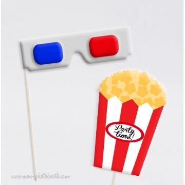 Lunettes 3D Cimema et Pop Corn Photobooth Accessoires