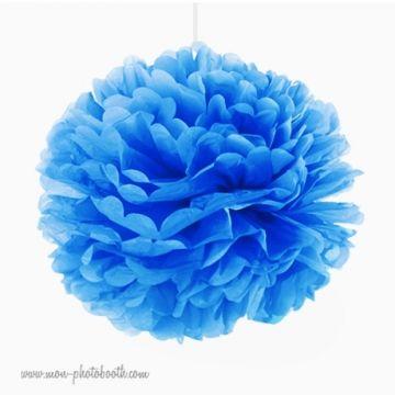 Rosace Pompon Fleur Papier de Soie Bleu Intense
