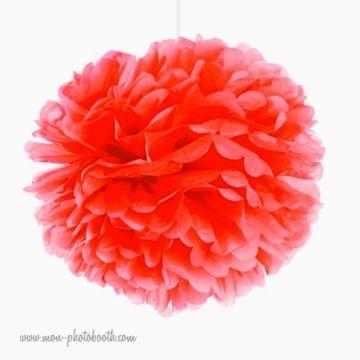 Rosace Pompon Fleur Papier de Soie Corail Orangé