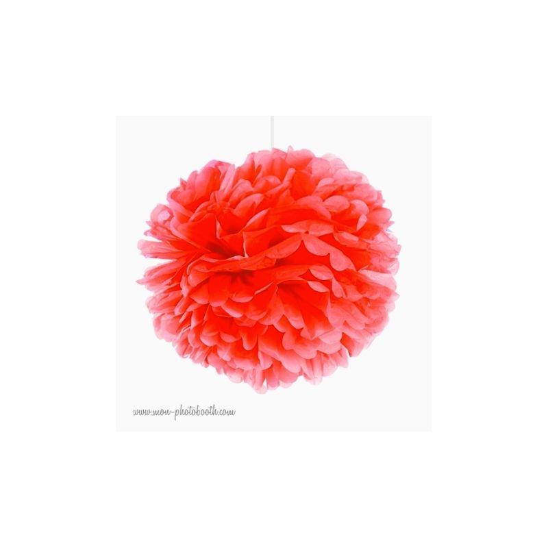 rosace pompon fleur papier de soie corail orang. Black Bedroom Furniture Sets. Home Design Ideas