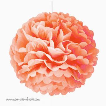 Rosace Pompon Fleur Papier de Soie Pêche