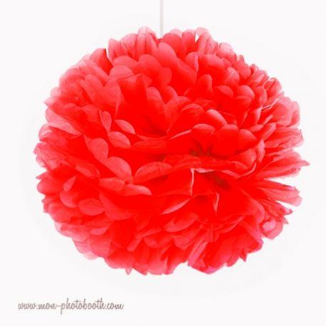 Rosace Pompon Fleur Papier de Soie Rouge