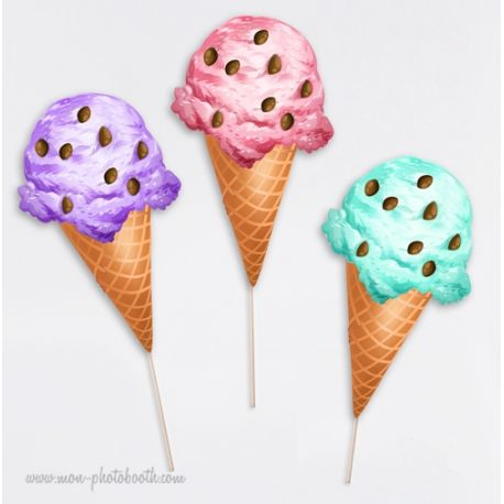 Ice cream Party Photobooth Accessoires