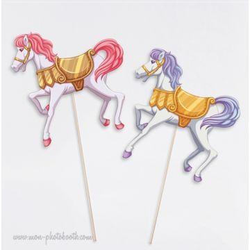 Lot de 2 petits chevaux de Carrousel Photobooth Accessoires
