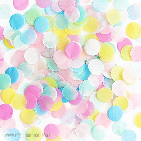 Confettis papier de soie multicolores pastels