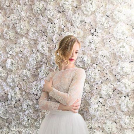 Mur de fleurs mariage- ivoire- Le Madeleine Vionnet