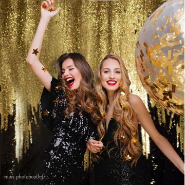 Photobooth sequin reversible noir et or