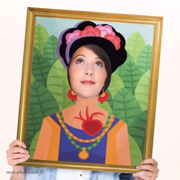 Cadre Photobooth Mariage - Tableau Frida Kahlo