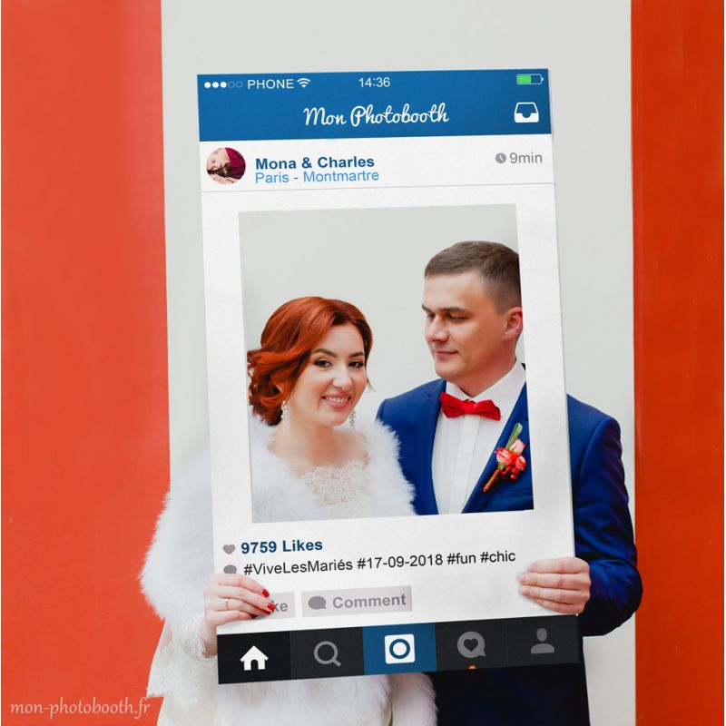 un cadre photobooth mariage inspir d 39 instagram fun personnalisable. Black Bedroom Furniture Sets. Home Design Ideas