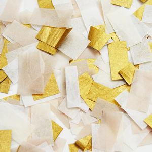 confettis mariage or blanc