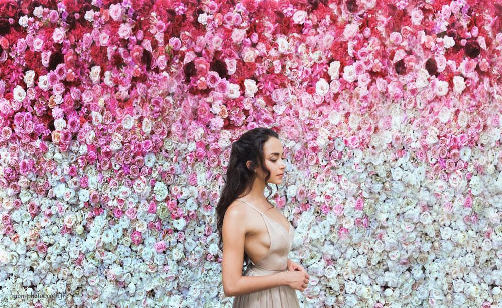location mur de fleurs artificielles